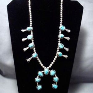 Navajo Turquoise Sterling Squash Blossom Necklace